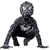 Boys Venom Black Spiderman Costume Kids Superhero Cosplay Spandex Bodysuit