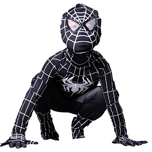 [Boys Venom Black Spiderman Costume Kids Superhero Cosplay Spandex Bodysuit (Large)] (Hero Costumes For Men)