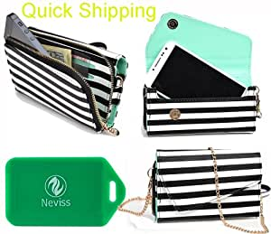 cross body wallet/phone holder in black and white striped w/mint interior * UNIVERSAL* for Samsung Galaxy Nexus i515