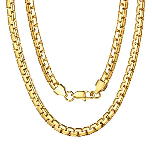 Box Chain Necklaces for Women Men 6mm 18K Gold Plated Stainless Steel Necklace