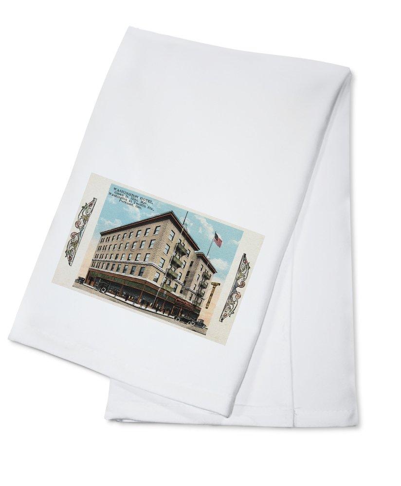 Portland, Oregon - Exterior View of the Washington Hotel (100% Cotton Kitchen Towel)