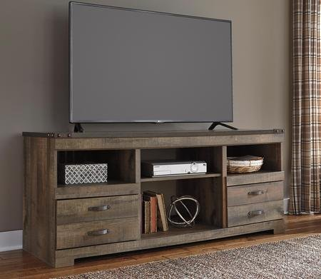 """Ashley Trinell W446-68 63"""" Large TV Stand with Fireplace Option Adjustable Center Shelf 2 Drawers and Side Roller Glides in"""