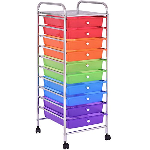 Giantex 10 Drawers Cart Storage Bin Organizer Rolling Storage Cart Metal Frame Plastic Drawers Flexible Wheels Home Office Scrapbook Supply & Paper Shelf, Multicolor