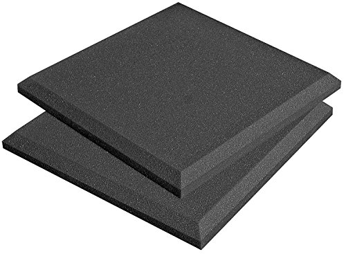 Auralex Acoustics SonoFlat Acoustic Absorption Panels, 1-Foot by 1-Foot by 2-Inch, Pack of 4, Charcoal