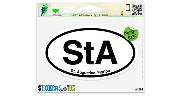 Amazon com sta st augustine florida oval car sticker indoor outdoor 5 x 3 automotive