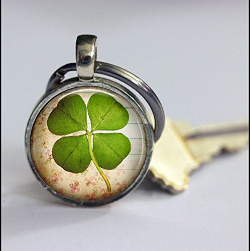 Keychain Vintage Four Leaf Clover Keychain,Vintage Good Luck Art Pendant Key Chain,Handmade Keychain,Vintage Jewelry,Fashion Jewelry for Women Or (Clover Key Pendant)