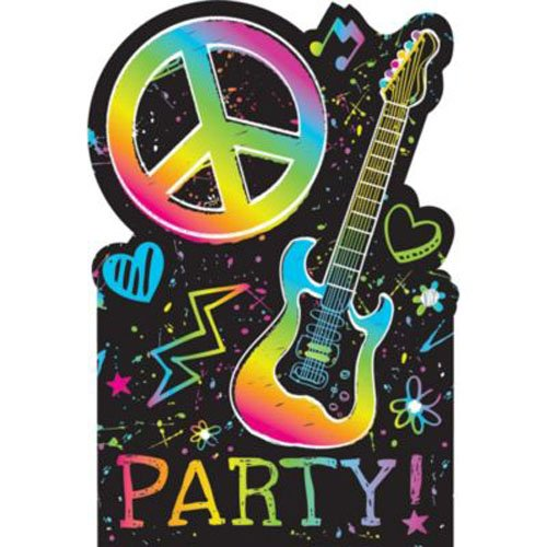 Amscan Groovy Neon Birthday Party Postcard Invitation Cards Supply (8 Pack), 6 1/4