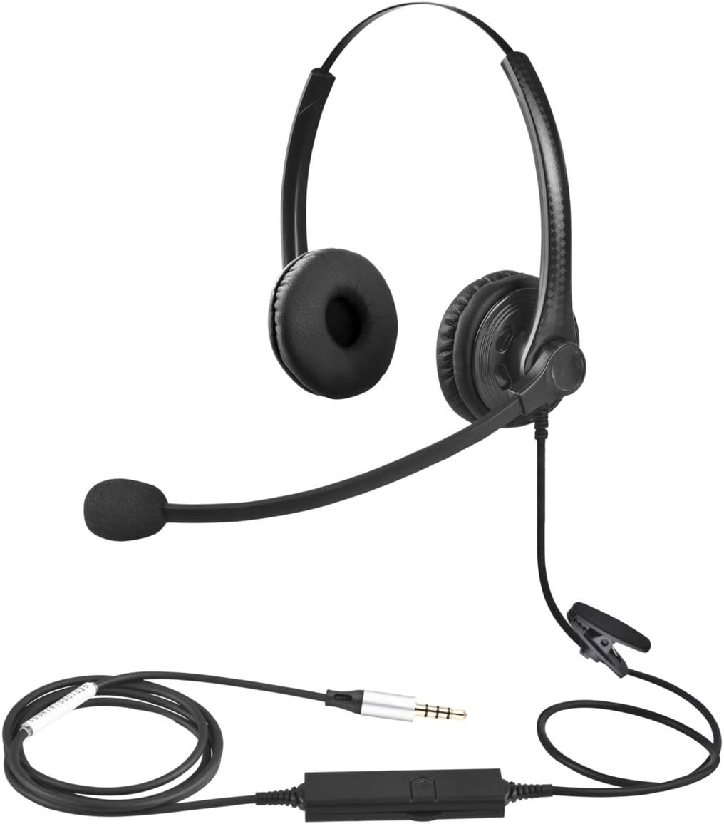 3.5mm Headset with Microphone Double Sided for Business Skype Work from Home Call Center Office Video Conference Computer Laptop PC VOIP Softphone Telephone Noise Cancellating Headset Headphone