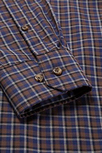 JP 1880 Homme Grandes tailles Chemise à carreaux marron 6XL 706517 30-6XL