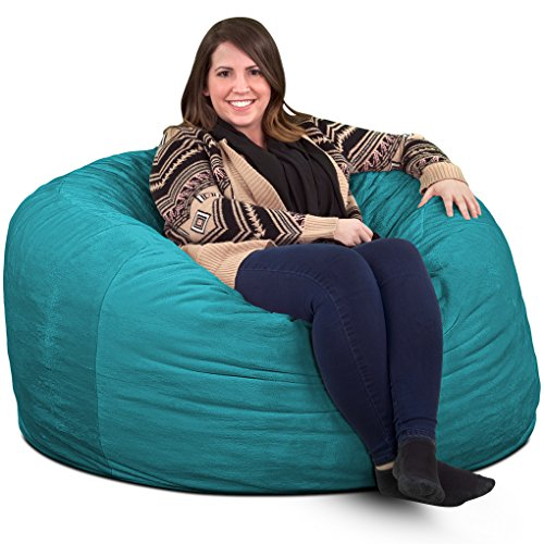 Ultimate Sack 4000 Bean Bag Chair: Giant Foam-Filled Furniture - Machine Washable Covers, Double Stitched Seams, Durable Inner Liner, and 100% Virgin Foam. Comfy Bean Bag Chair. (Teal, Suede) by Ultimate Sack