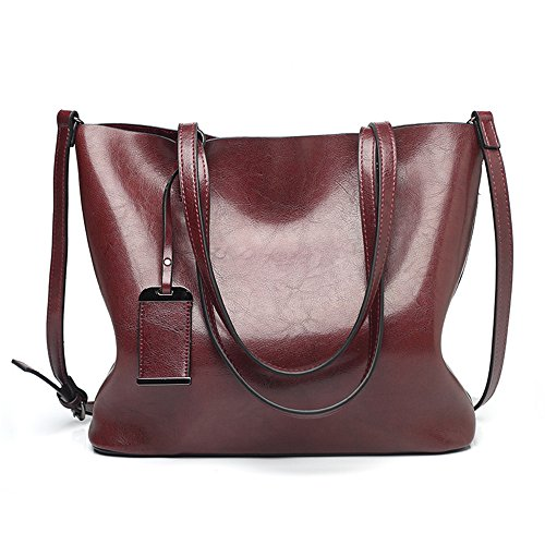 Color Shoulder Soft Oil Portable FangYOU1314 Shoulder Messenger Leather Ladies Large Coffee Waterproof Red Bag Capacity Retro x1xwBFqUn