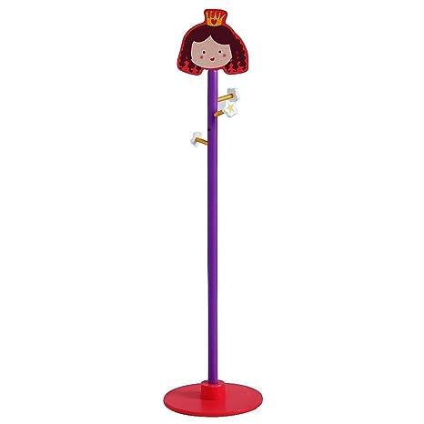 Labebe Child Furniture, estante de ropa infantil de madera con 4 ganchos Princess Rose