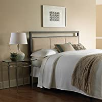 Danville Metal Headboard with Squared Tubing and Buckwheat Upholstered Panels, Coffee Finish, Full