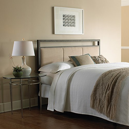 Fashion Bed Group Danville Metal Headboard with Squared Tubing and Buckwheat Upholstered Panels, Coffee Finish, Full (Allen Set Wesley Bed)