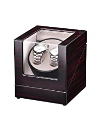 Koval Inc. Double Auto-Wood Watch Winder Display Case Organizer Wooden Storage Box W Japanese Motor (Beige Interior)
