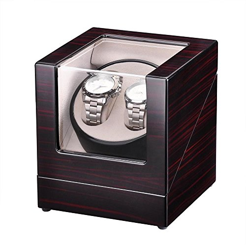 (Clever Market Wood Automatic Dual Watch Winder Box Elegant Wooden Winder Solid Watch Rotator Classic Display Storage Case Brown)