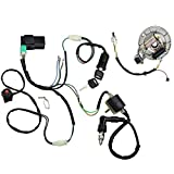 #9: Minireen Kick Start Dirt Pit Bike Wire Harness Wiring Loom CDI Ignition Coil Magneto Spark Plug Rebuild Kit for 50cc -125cc Stator CDI Coil ATV Quad Bike Buggy Go Kart