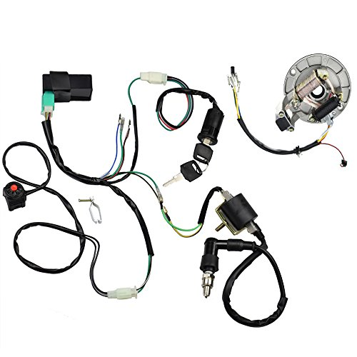 Minireen Kick Start Dirt Pit Bike Wire Harness Wiring Loom CDI Ignition Coil Magneto Spark Plug Rebuild Kit for 50cc -125cc Stator CDI Coil ATV Quad Bike Buggy Go Kart