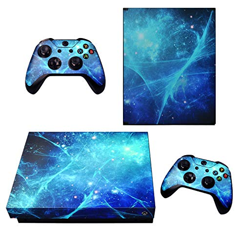 eXtremeRate Blue Galaxy Full Set Faceplates Skin Stickers for Xbox One X Console Controller with 2 Pcs Home Button Decals -
