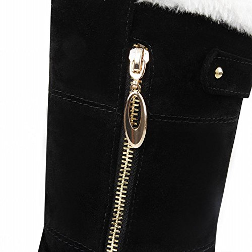 Show Shine Womens Fashion Platform Tacco Grosso Stivali Da Neve Stivali Al Polpaccio Neri