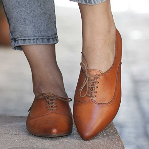 Camel Women's Handmade leather Oxford Shoes by Bangi Shoes