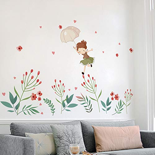 DKTIE Kids Room Decor Flower Fairy Decals for Wall Stickers Removable Peel and Stick Girl Wall Decals Quotes for Bedroom Nursery Decor Art Flower Decal