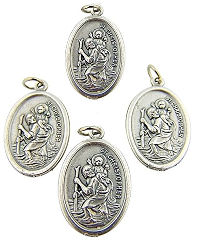 Lot of 4 Saint St Christopher Silver Tone Tone 1 Inch Protection Medal Charm Pendant ()