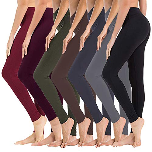 - High Waisted Leggings for Women – Soft Athletic Tummy Control Pants for Running Cycling Yoga Workout - Reg & Plus Size (7 Pack Assort01, Plus Size (US 12-24))