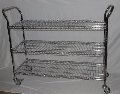 i10Direct Chrome 3 Shelf Rolling Utility Cart for Office Storage Kitchen Organization Garage