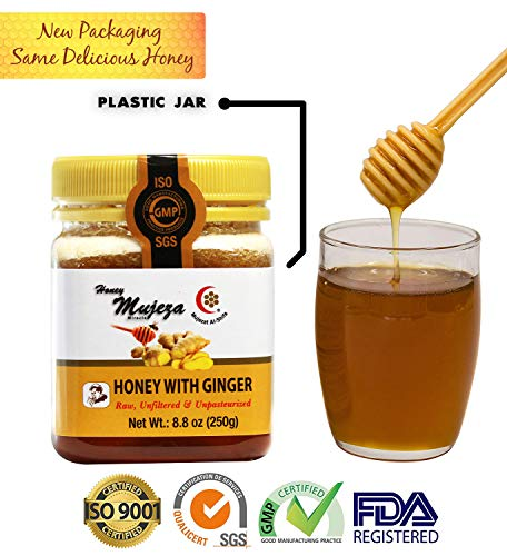 MUJEZA Honey with Fresh Ginger Juice, Unheated Unfiltered Unprocessed 100% Natural Raw Honey (SAVE Almost $10 WHEN YOU BUY THE BIGGER SIZE) (Different Sizes Available) (250g /17.6oz)