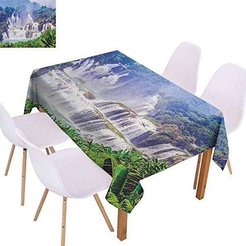 Marilec Washable Table Cloth Nature Waterfall Exotic Tropical Leaves Natural Swimming Pool Water Picture Table Decoration W52 xL72 Forest Green Pale Blue