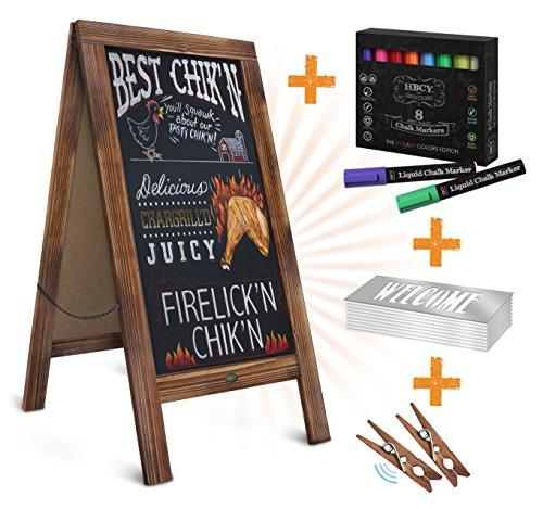"Rustic MAGNETIC A-Frame Chalkboard DELUXE SET / 8 CHALK MARKERS + 10 STENCILS + 2 MAGNETS! Outdoor Sidewalk Chalkboard Sign / Large 40"" x 20"" Sturdy Sandwich Board (The Deluxe Set)"