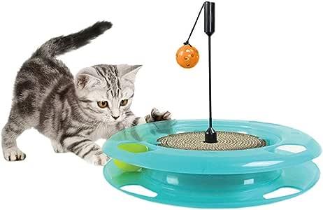 Wagyunfei Juguetes para Gatos Rascador de Papel Corrugado Juego de Rompecabezas Bola de Bola de una Sola Capa Gato giradiscos Gato Juguete. Poste de rascado montado en la Pared: Amazon.es: Hogar