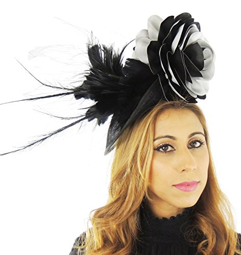 Hats By Cressida Ladies Wedding Races Ascot Derby Fascinator Headband Black Grey by Hats By Cressida