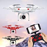 Dirance KY101 RC Quadcopter Drone WiFi FPV Live Helicopter,Headless Mode and One Key Return Home,Color Black White Red (Red)
