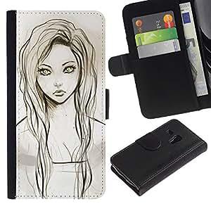 Paccase / Billetera de Cuero Caso del tirón Titular de la tarjeta Carcasa Funda para - Girl Portrait Green Eyes Pencil Drawing - Samsung Galaxy S3 MINI NOT REGULAR! I8190 I8190N
