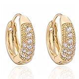 Women White Round Hoop Crystal Rhinestone Earrings Gold Plated Elegant Gift Boucles D'oreilles