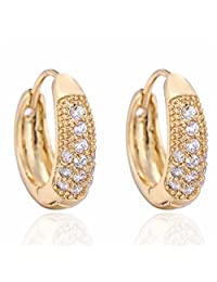 Women White Round Hoop Crystal Rhinestone Earrings Gold Plated Elegant Gift Boucles D'oreilles