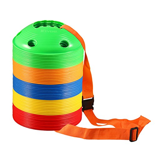 "50-Pack Kevenz 2"" High Multicolor Soccer disc Cones Markers, with a carry strap or bag discs cone (Thicker)"