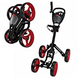 Caddymatic Golf Quad 4-Wheel Folding Golf Pull / Push Cart Black/Red