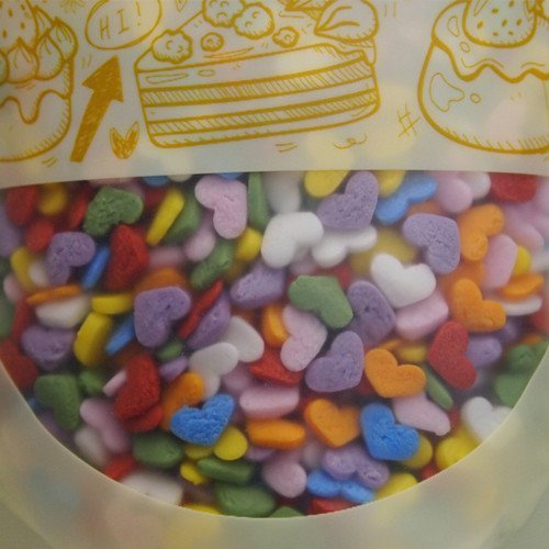 Natural Rainbow Gluten GMO Nuts Dairy Soy Free Confetti Mini Hearts Bulk Pack. by Quality Sprinkles
