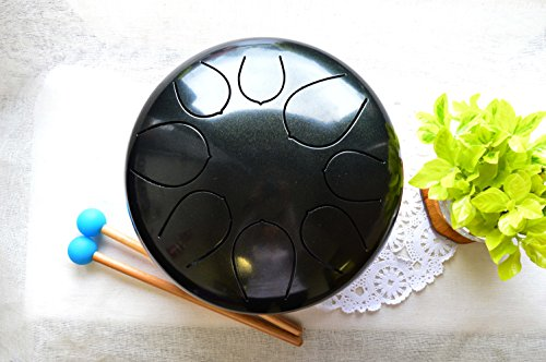 WuYou Large Steel Tongue Drum Chakra Tank Drum Handpan, Speciel Notes, Black by WUYOU