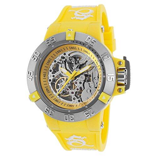 Invicta Subaqua Mechanical Yellow Skeleton Yellow Silicone Ladies Watch 17132