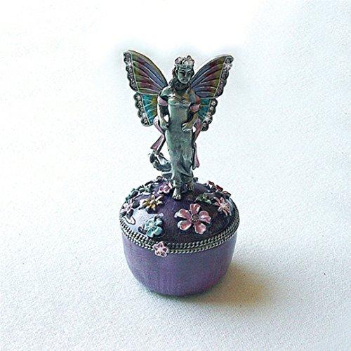 - Fairy Angel Butterfly Box Swarovski Crystals Keepsake Jewelry Trinket Pill Box Figurine