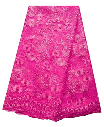 SanVera17 African Lace Net Fabrics Nigerian French Fabric Embroidered and Sequins Guipure Cord Lace for Party Wedding 5 Yards us-fabric-074 (Fuchsia)
