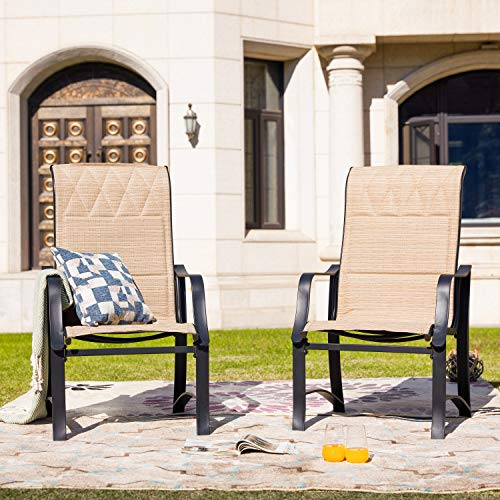 LOKATSE HOME Patio Outdoor Mesh Dining Chairs Set of 2, Beige