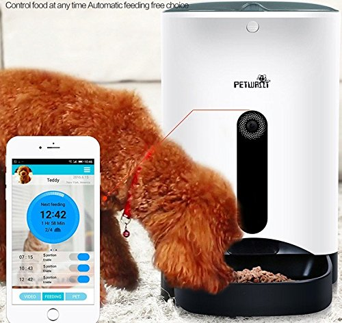 Homeself Smart Feeder,Automatic Pet Feeder Food Dispenser for Dogs & Cats with 1 Mega Pixels HD Camera,Control with Iphone,Andriod or other smart devices by Petwant