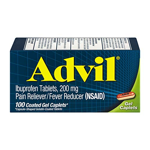 Advil Ibuprofen Coated Gel Caplets 200 mg - 100 ct, Pack of 3