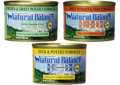 - Natural Balance Limited Ingredient Diets Wet Dog Food Variety Pack (4) Duck & Potato (4) Fish & Sweet Potato (4) Chicken & Sweet Potato