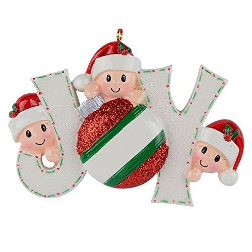 (WorldWide Joy Family of 3 Personalized Ornaments)